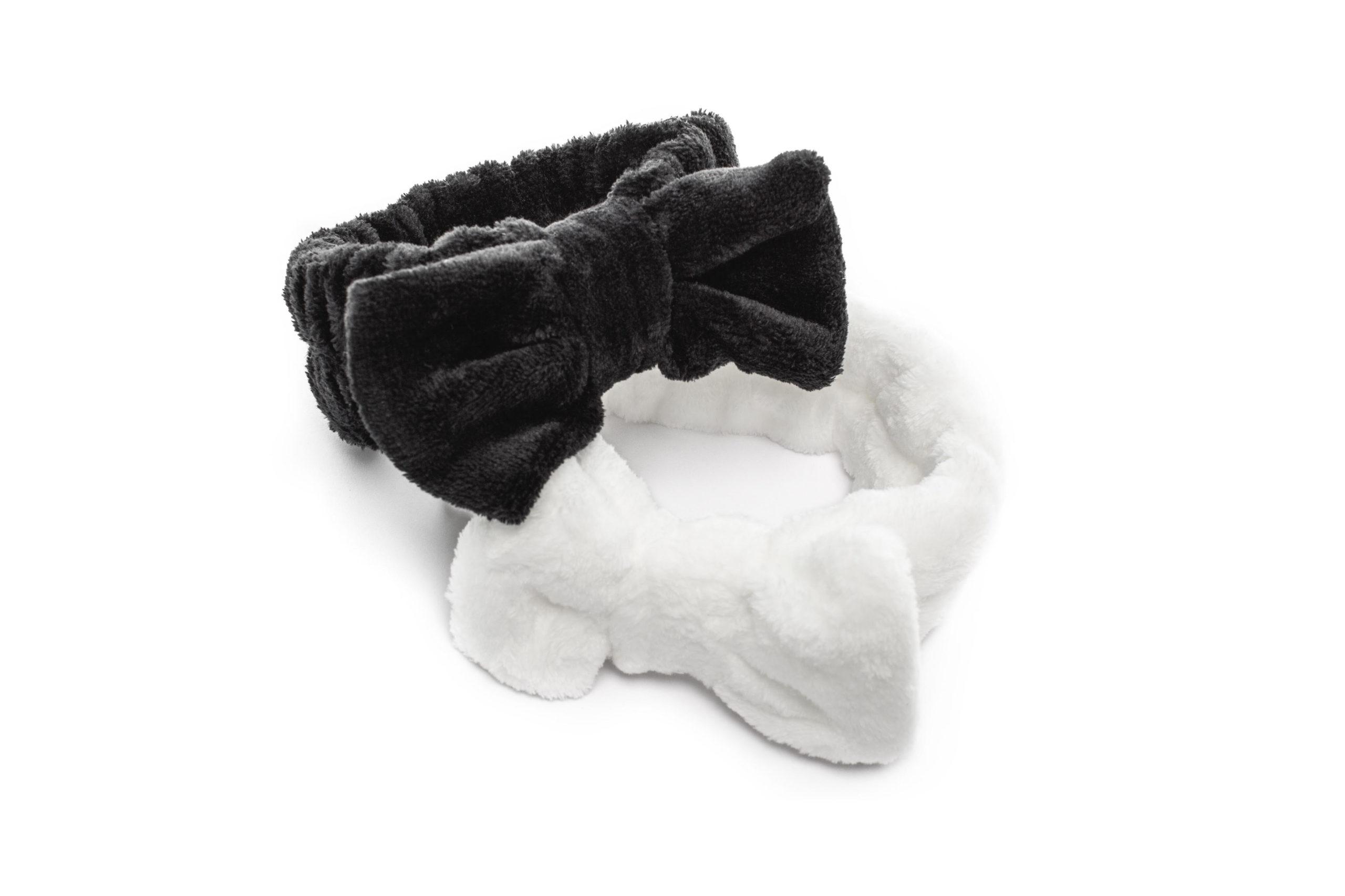 Diadema maquillaje lazo blanco y negro