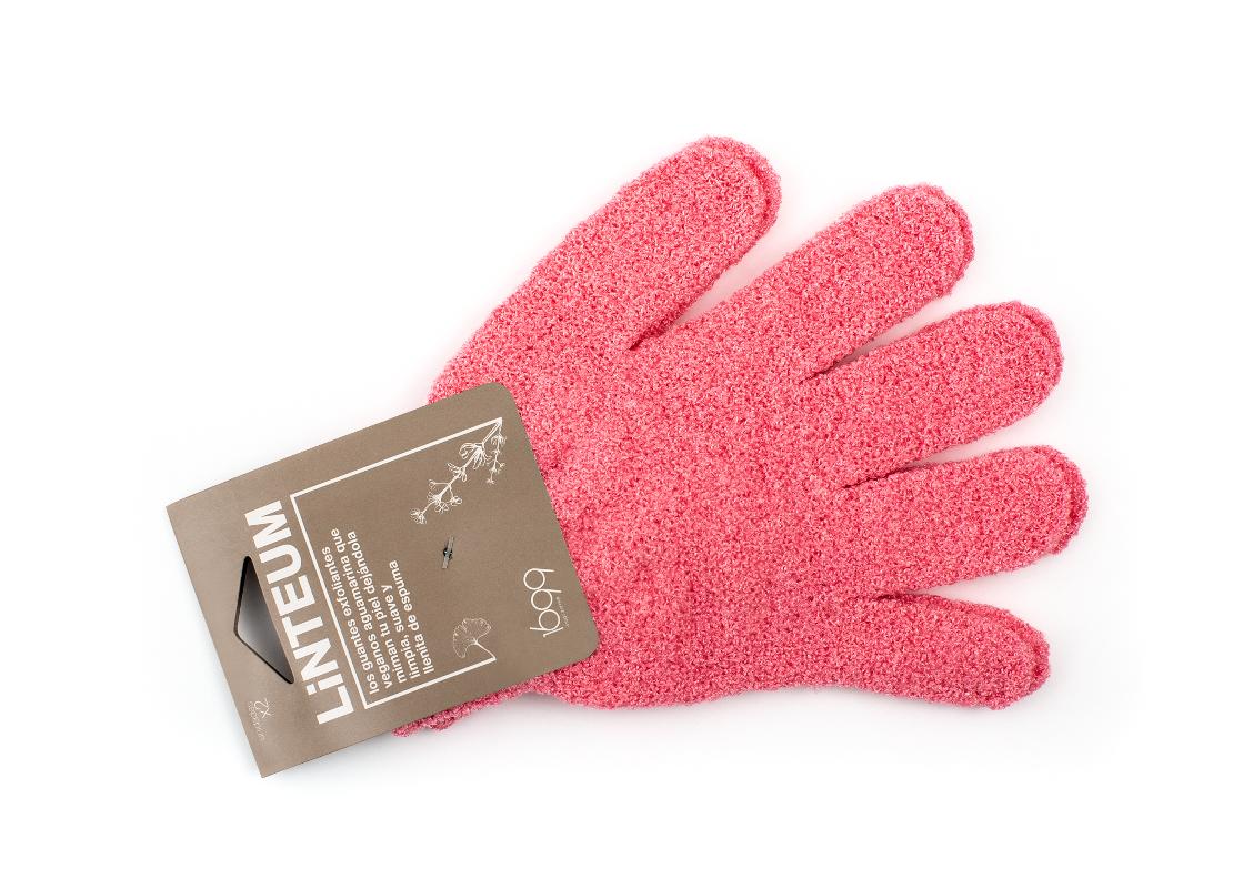 guante exfoliante vegano - rosa