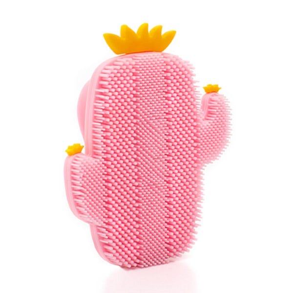 cepillo facial cactus rosa